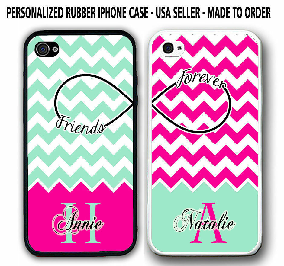 PERSONALIZED MINT HOT PINK CHEVRON BFF BEST FRIENDS CASE For iPhone 6S ...
