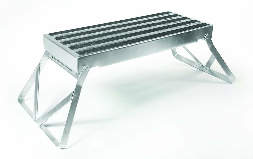 New Folding Rv Step Aluminum Single Steel Foldaway Entry