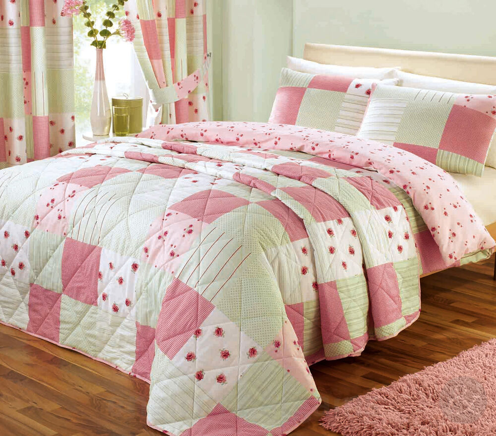 shabby chic patchwork duvet cover floral pink green. Black Bedroom Furniture Sets. Home Design Ideas