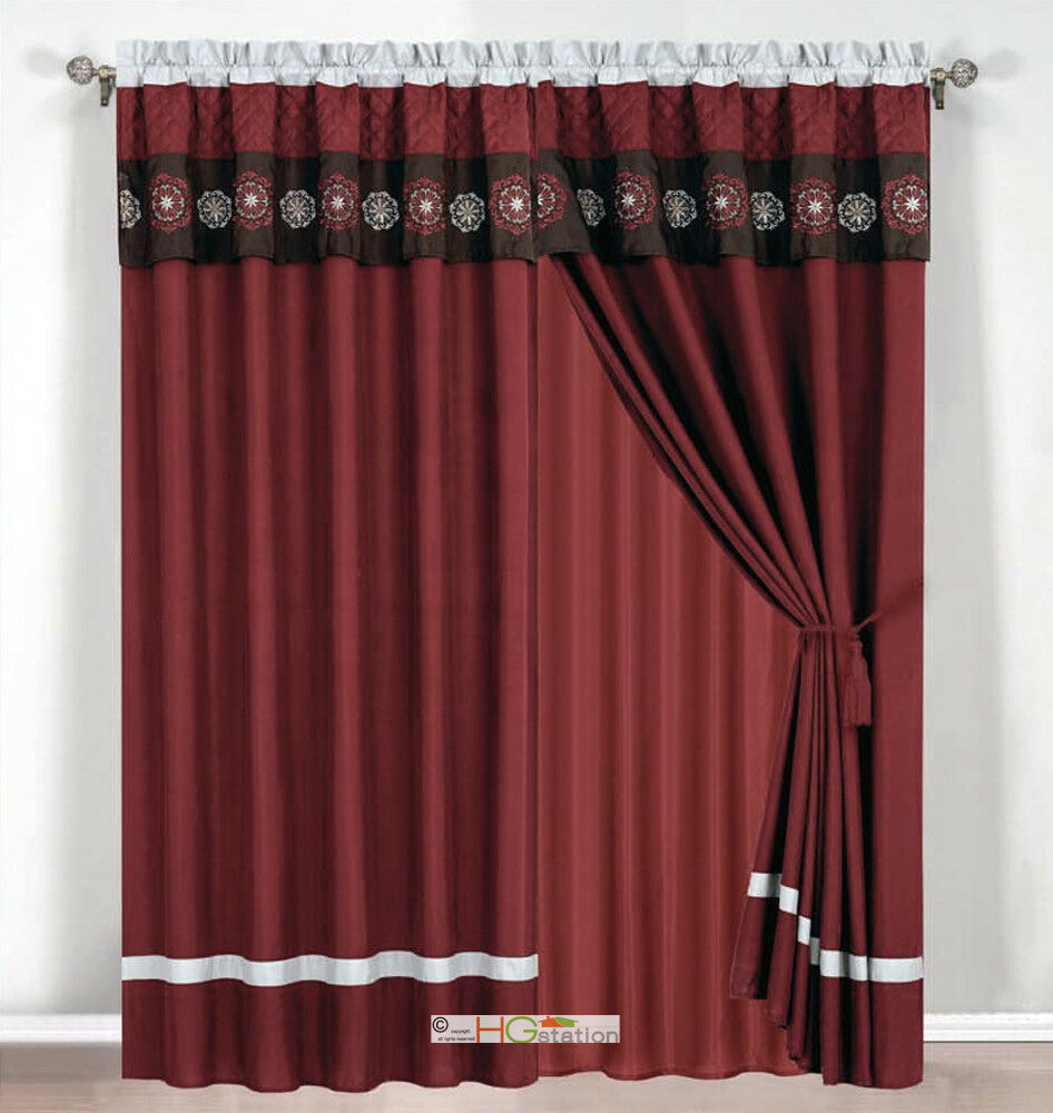 4 Pc Quilted Floral Embroidery Curtain Set Burgundy Brown