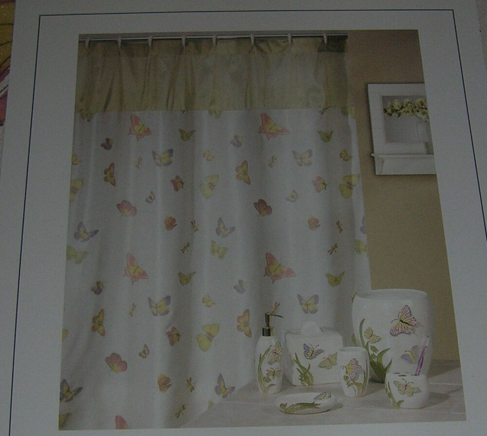 Creative Products Shower Curtain Off White Fabric Madame Butterfly ...