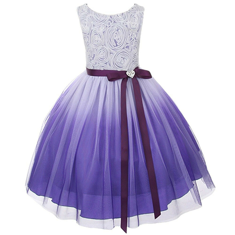 Dresses For Girls: Ombre Flower Girls Dress Easter Christmas Pageant Party