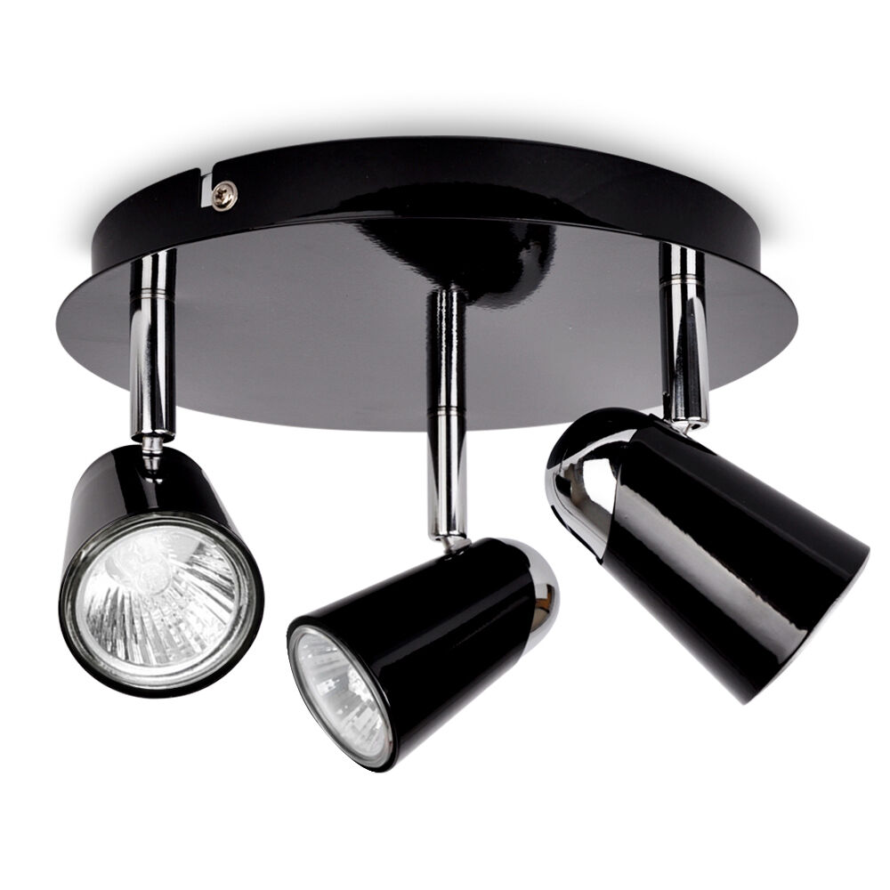 Large Modern Silver Chrome 6 Way Kitchen Ceiling Spot: Modern Black Chrome Round 3 Way Ceiling Spot Light