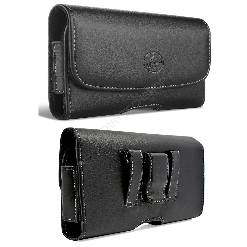 leather horizontal belt clip pouch cover holster for