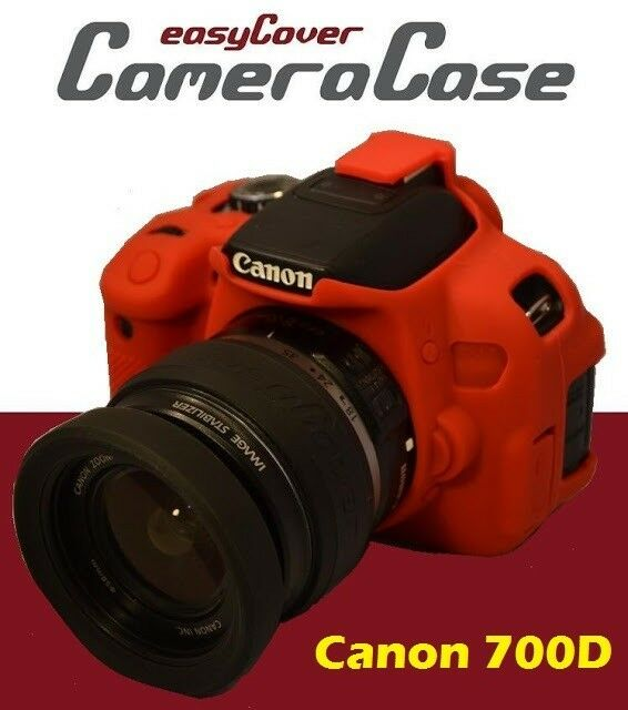 Protective red silicone armor for canon 700d rebel t5i for Housse canon 700d