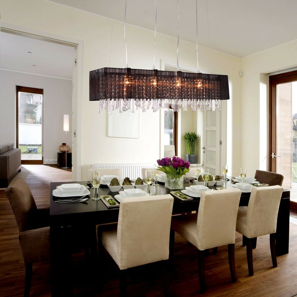 Modern crystal chandelier ceiling lamp pendant light fixture dining room ebay - Modern dining room lighting fixtures ...