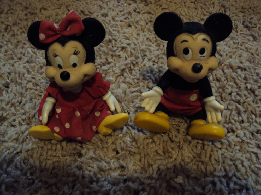 vintage plastic bendable mickey and minnie mouse ebay. Black Bedroom Furniture Sets. Home Design Ideas
