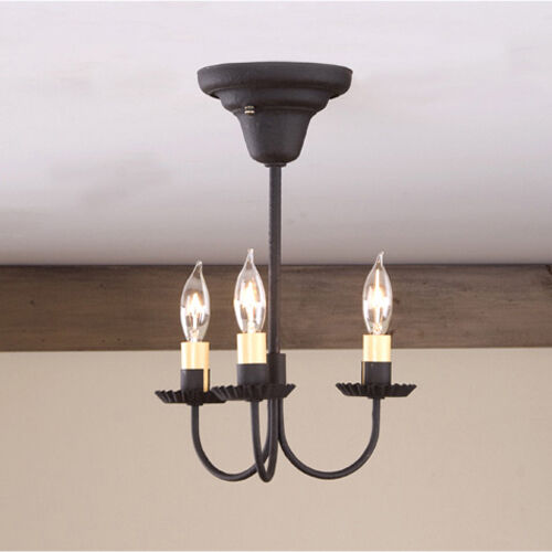 Black Candle Ceiling Lights : Arm primitive colonial ceiling light textured black