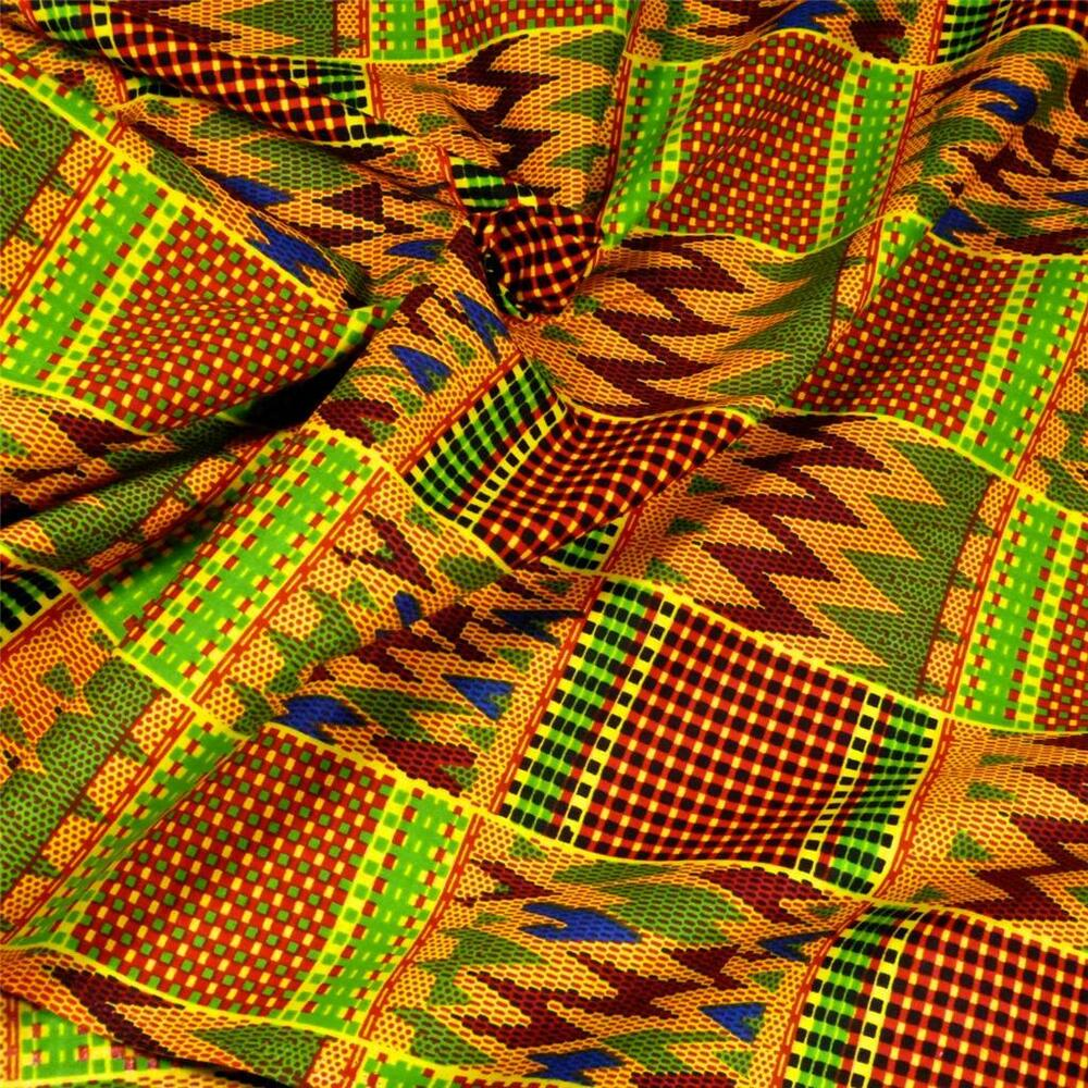 African print kente cloth fabric per yard wax dyed green for Cloth fabric