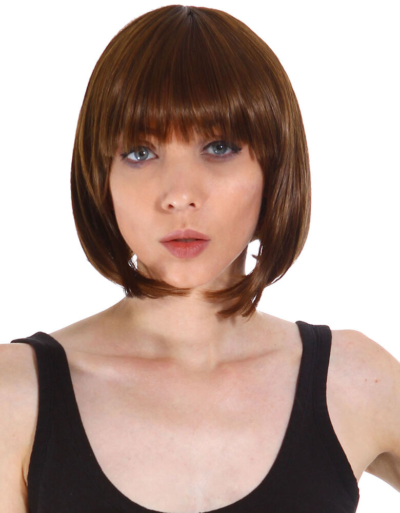 Light Brown Bob Style Straight Hair Wig Short Hair Party