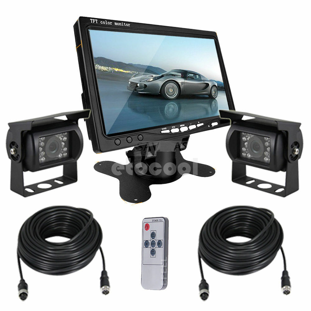 2x night vision ccd rear view camera kit monitor system. Black Bedroom Furniture Sets. Home Design Ideas