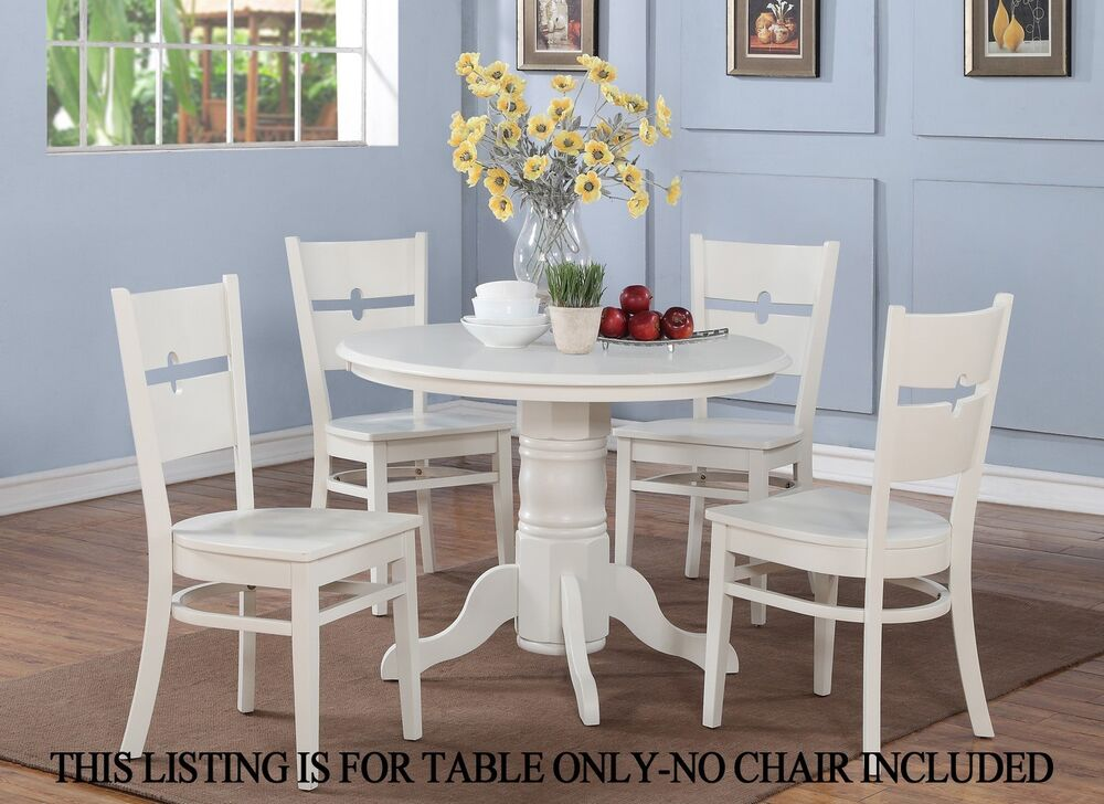 one dinette kitchen dining table 42 round without chair in linen white finish ebay. Black Bedroom Furniture Sets. Home Design Ideas