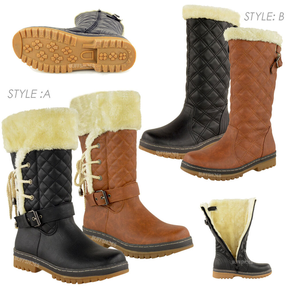 WOMENS LADIES FLAT CALF KNEE HIGH QUILTED FUR LINED WINTER