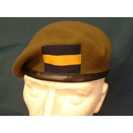 img-Quality Princess Of Wales Royal Regiment Beret PWRR Leather Banded Beret + Flash