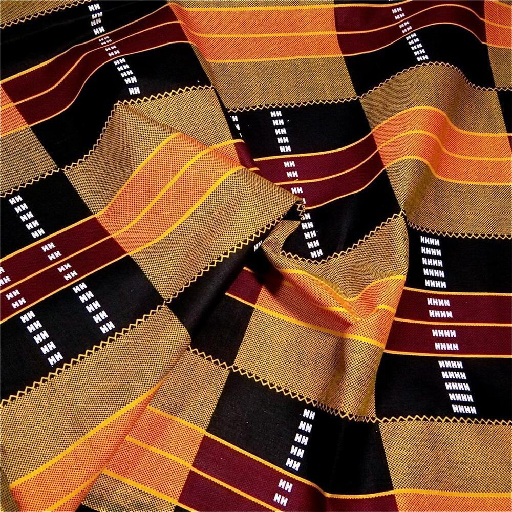 1african cotton fabric kente cloth print gold orange for Cloth fabric