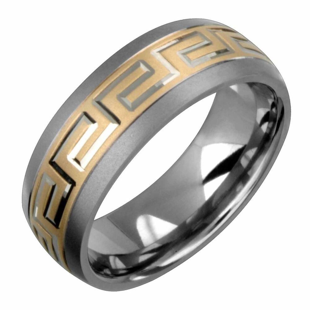 New 7.5mm 14K Yellow Gold Titanium Ring Wedding Band
