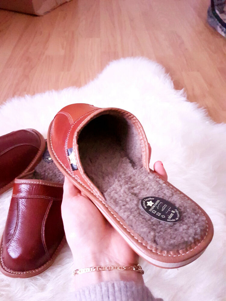 new mens leather slippers brown shoes size 7 8 9 10 11 12
