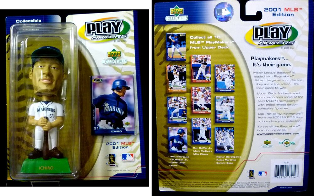 Upper deck playmakers mlb ichiro 2001 bobble head and card mariners