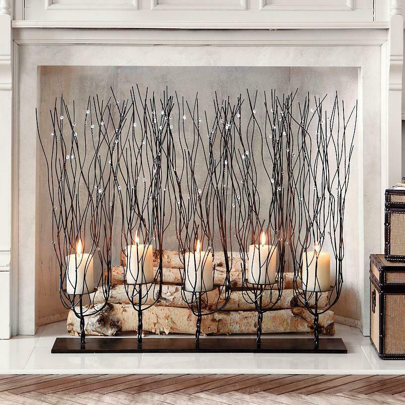 tree branch candle holder brown 30 twig fireplace decor new ebay