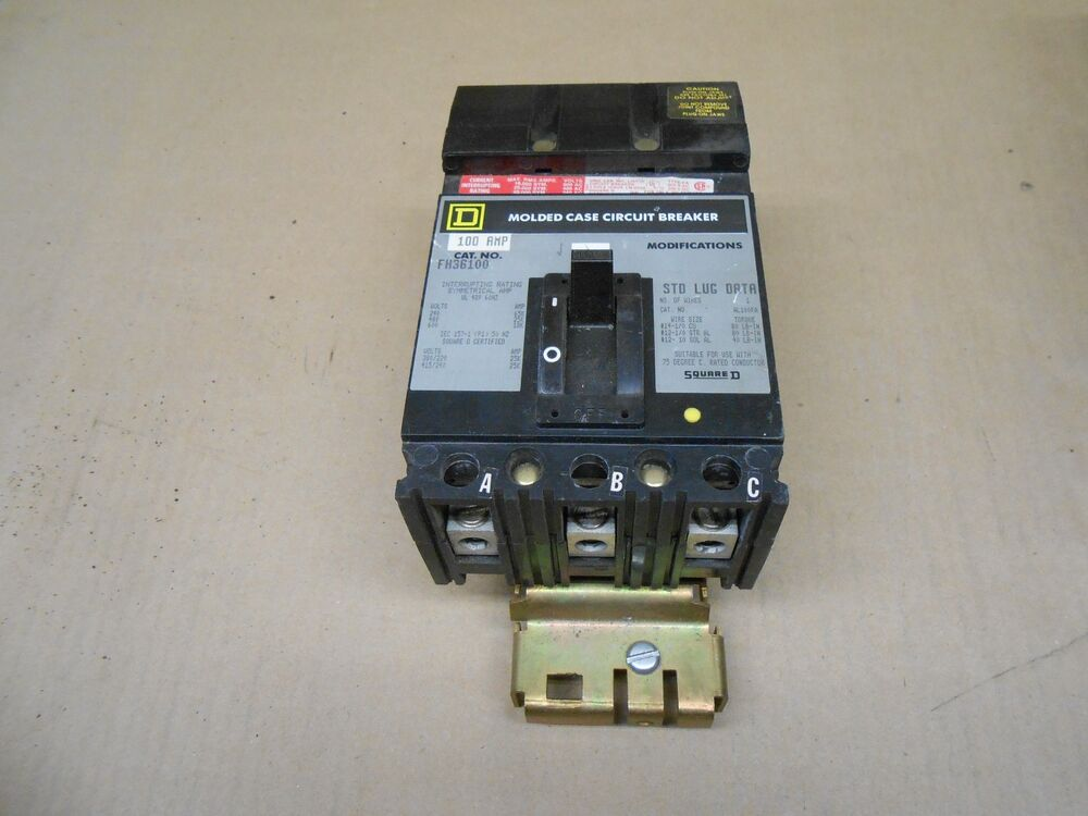 1 used square d fh fh36100 100 amp 3 pole 600 vac circuit breaker gray label ebay. Black Bedroom Furniture Sets. Home Design Ideas