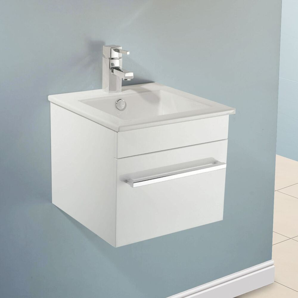 400mm Wall Hung White Gloss Finish Bathroom Basin Sink Cabinet Vanity Unit Ebay
