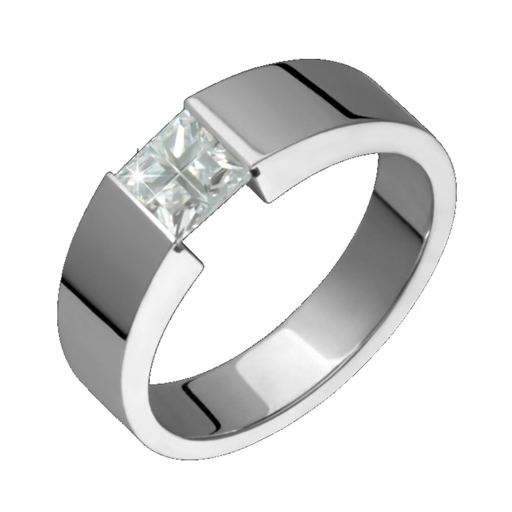 titanium ring with white cubic zirconia engagement wedding band ebay