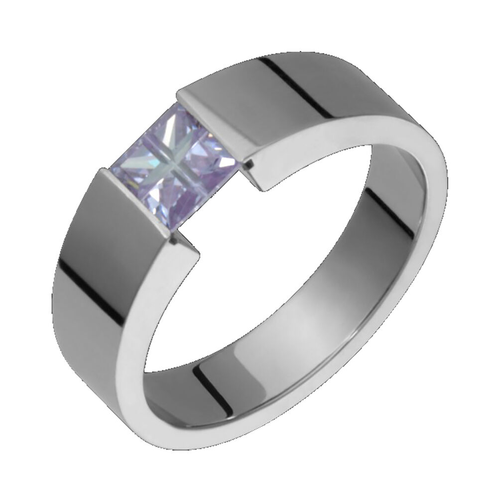 Titanium Ring Purple Tension Set 5x4mm Wide Wedding Band Polished For Him N H
