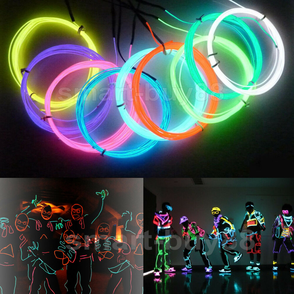 Colorful Flexible EL Wire Tube Rope Neon Light Glow ...