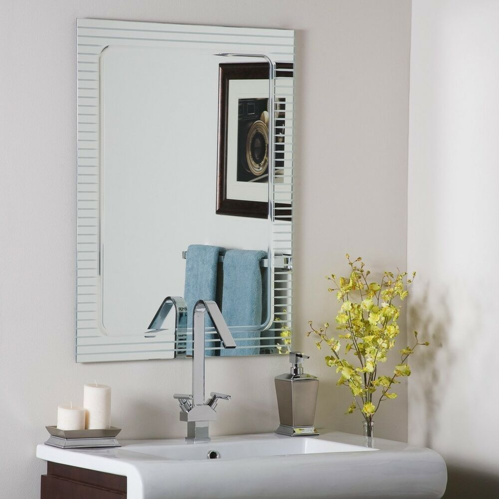 Frameless Bathroom Wall Mirror Hall Designer v groove
