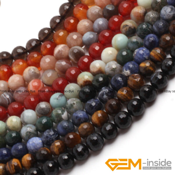 Wholesale Lot Natural Assorted Stones Faceted Round Loose Spacer Beads 15