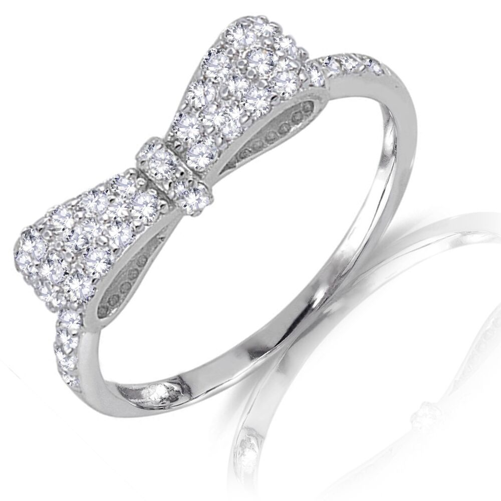 formal bow tie ribbon clear cz genuine sterling silver
