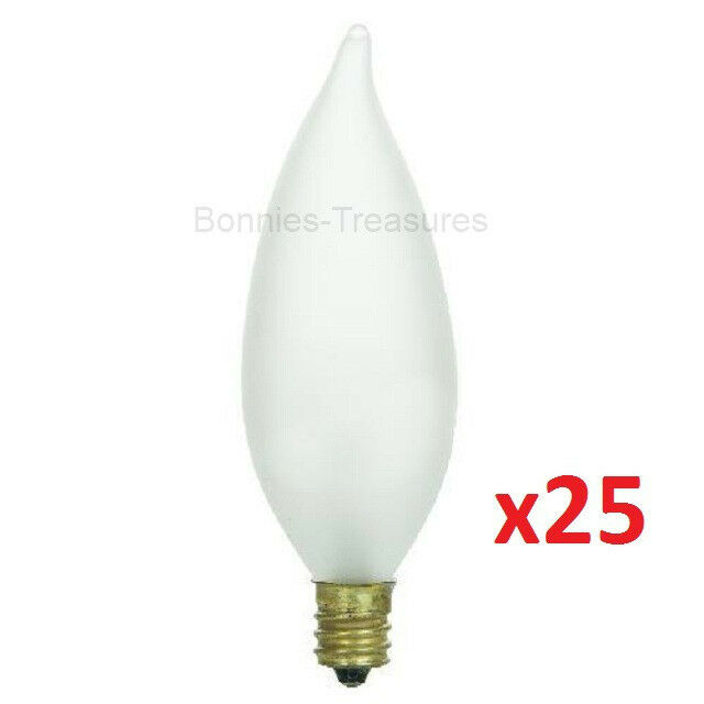 Led E12 Frosted: 25-pack SUNLITE 40w FROSTED FLAME TIP Chandelier Light