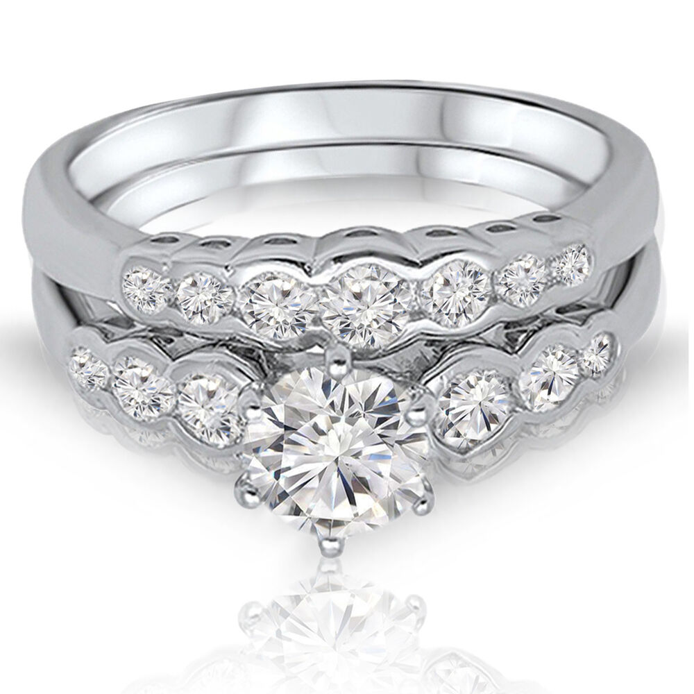 silver wedding ring brilliant simulated engagement wedding genuine 7460