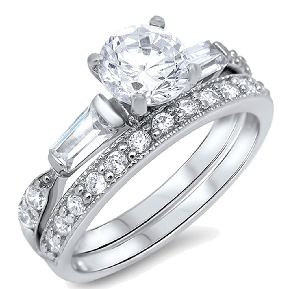 cut engagement wedding sterling silver ring set size 3 12 ebay
