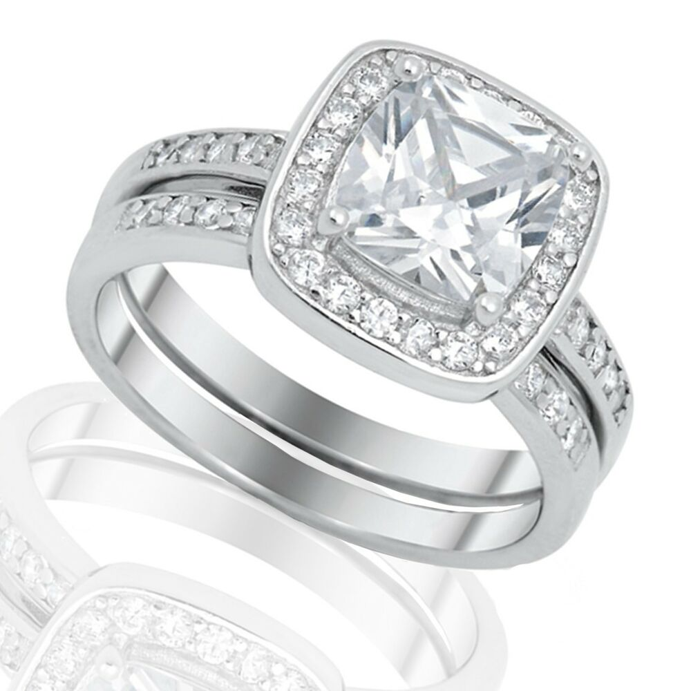 cz engagement wedding sterling silver ring set size 3 12 ebay