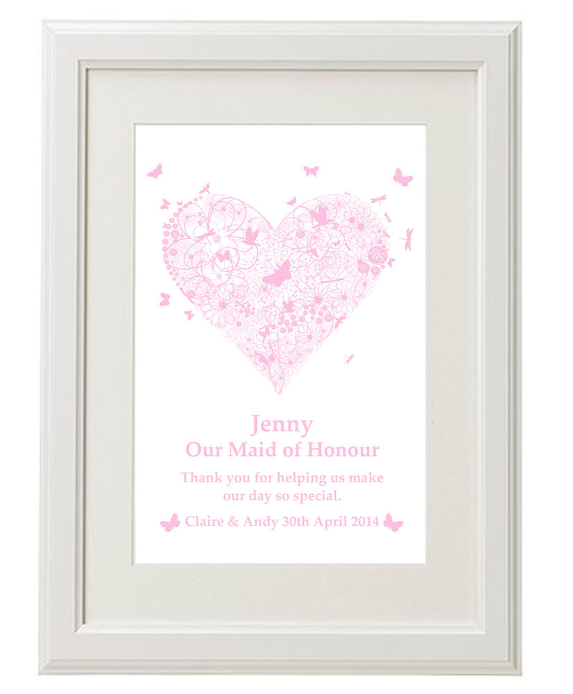 Unique Personalised Bridesmaids Thank You Print Gifts