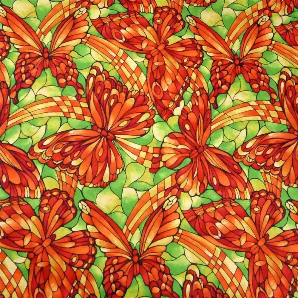 cotton per yard large butterflies orange green gold by fabric freedom ebay. Black Bedroom Furniture Sets. Home Design Ideas