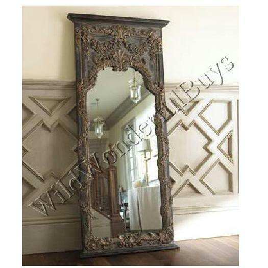 Extra large baroque ornate floor leaner mirror full length for Floor wall mirror