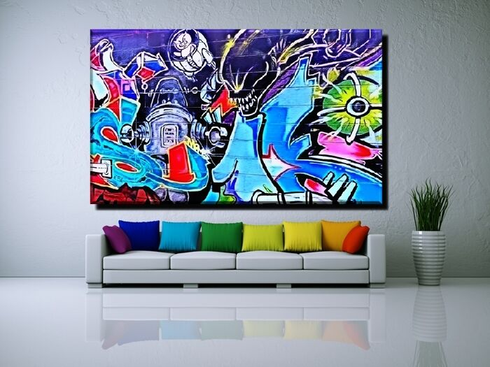 leinwand bild xxl popart graffiti abstrakt mauer wand bunt zeichen 50x30 150x90 ebay. Black Bedroom Furniture Sets. Home Design Ideas