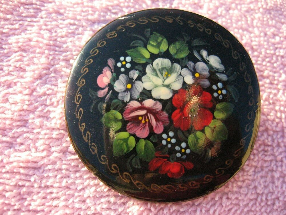 Vintage Hand Painted Russian Floral Brooch Pin Ebay