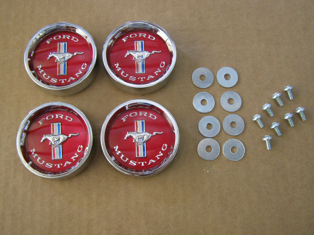 New 1965 1966 Ford Mustang Styled Steel Wheel Center Caps Ornaments Emblems Ebay