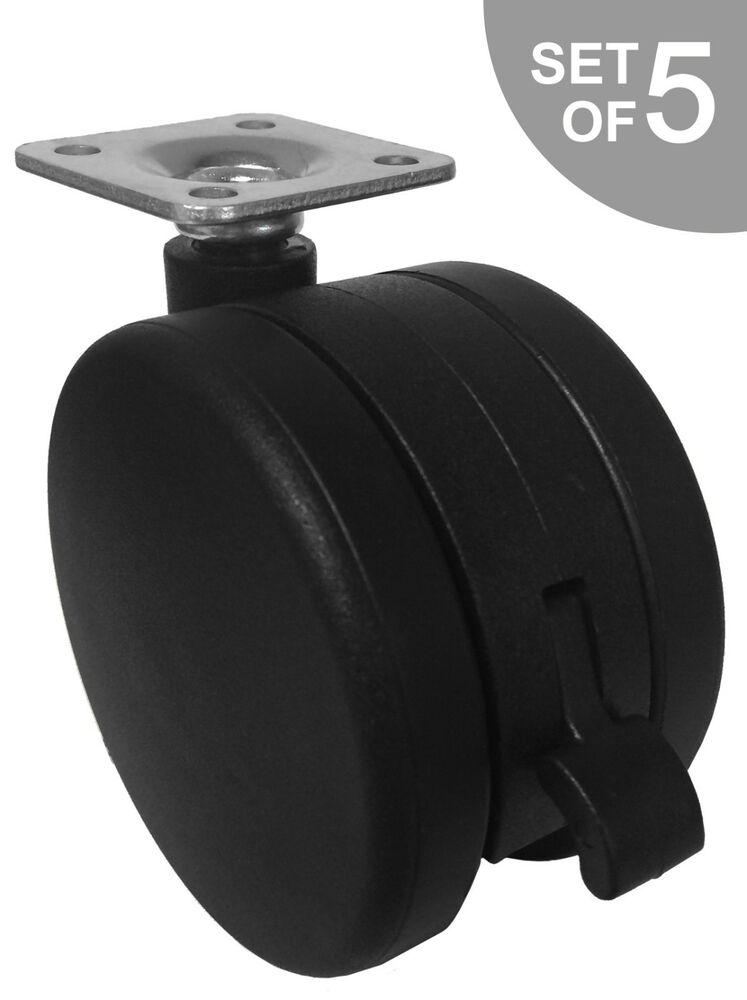 Extra large 3 furniture casters w brake w plate for 3 furniture casters