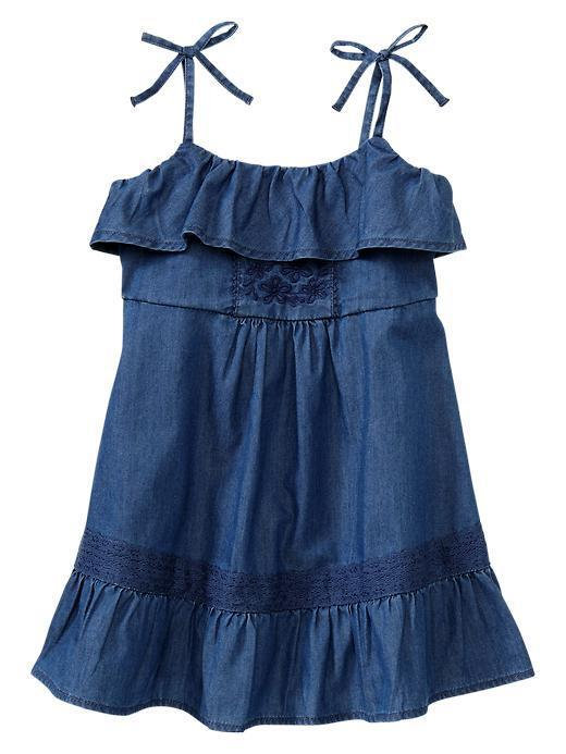 Baby GAP Clementine Embroider Flower Denim Chambray Ruffle Dress 2T 4T NWT $30 | EBay