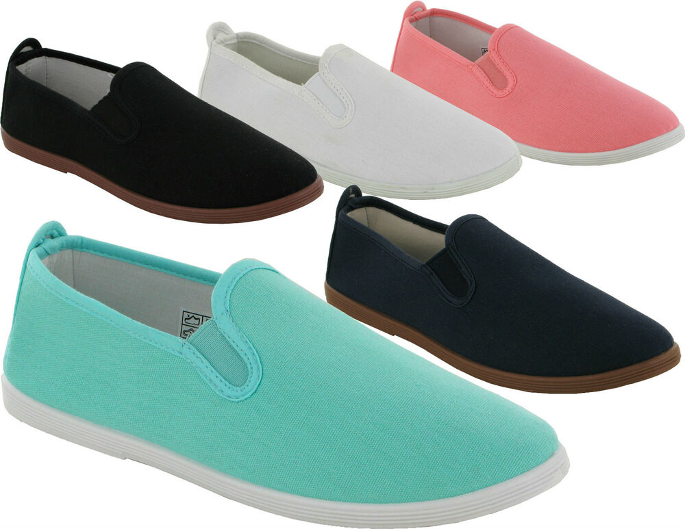LADIES TWEET FLAT CANVAS PLIMSOLLS SLIP ON PUMPS GIRLS ...
