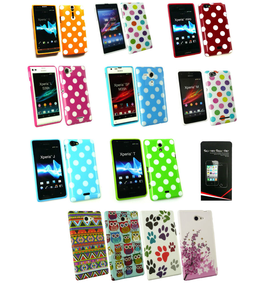Polka Dots Gel Case Cover for Sony Xperia Phone Models + Screen ...