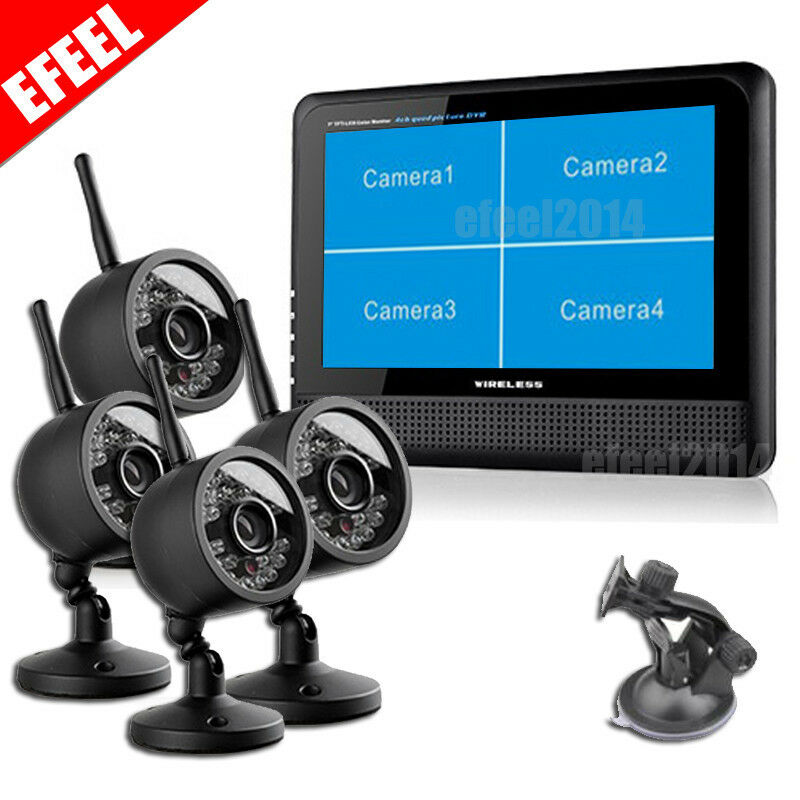Wireless 4 CH Quad DVR 4 Cameras with 7TFT-LCD Monitor ...
