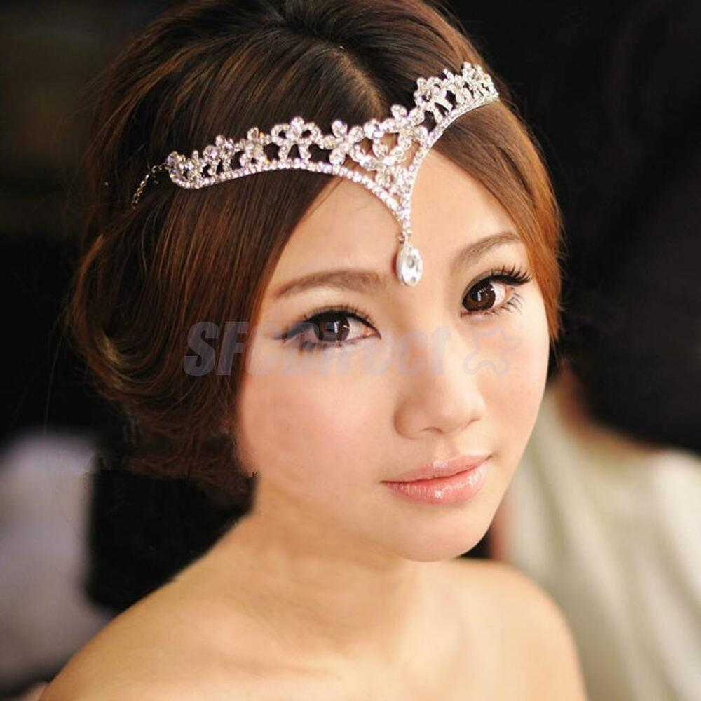 Flower Wedding Headpieces: Rhinestone Flower Frontlet Forehead Band Wedding Bridal