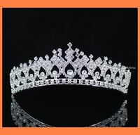 SHINY CLEAR RHIESTONE TIARA CROWN WITH COMBS PARTY WEDDING BRIDAL PROM T630S