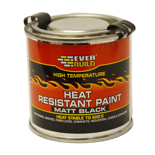 heat resistant paint 125ml everbuild black high. Black Bedroom Furniture Sets. Home Design Ideas