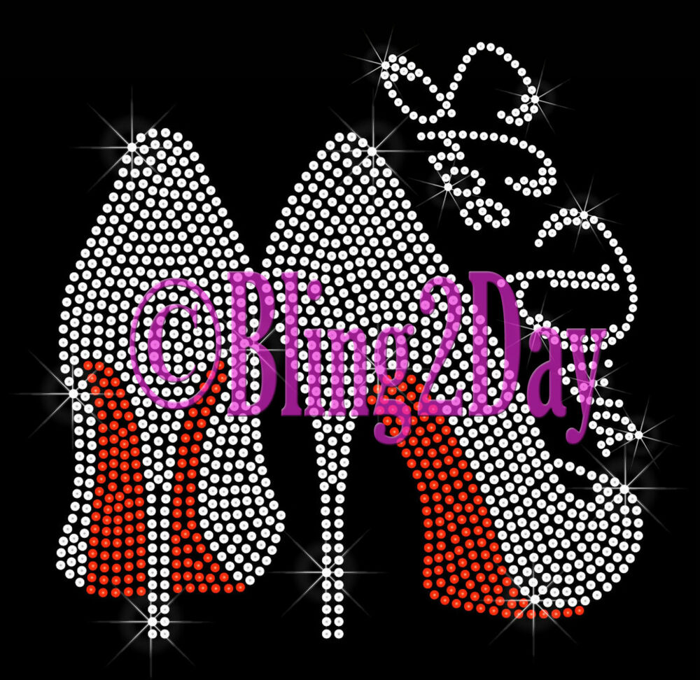 Clear high heel shoe red iron on rhinestone transfer for Designs for sale